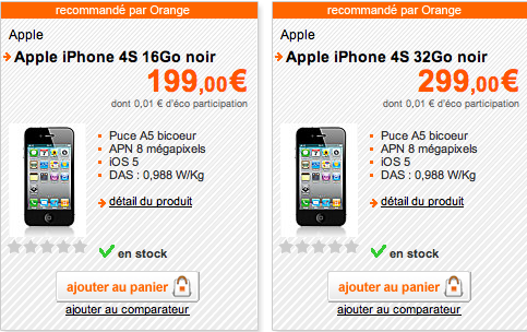 iphone 4S orange LiPhone 4S en précommande chez orange à partir de 199€