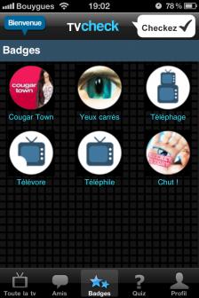 test TV Check badge 1 e1318525925320 Test de TV Check, un jeu dédié à vos programmes préférés (Gratuit)