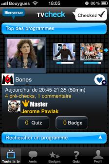 test TV Check ecran accueil e1318522195380 Test de TV Check, un jeu dédié à vos programmes préférés (Gratuit)