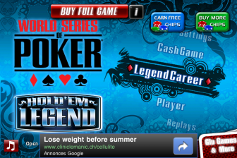 test wsop ecran accueil e1319821293224 Test de World Series Of Poker lite   Devenez un as du poker sur iPhone ! (Gratuit)