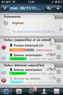 TestPI2001 Test de Pocket Informant 2.0 : la mise a jour quil manquait !