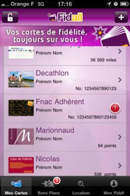 fidall 4 Fidall (Gratuit) : Mettez toutes vos cartes de fidélité dans votre iPhone et profitez de bons plans ciblés !