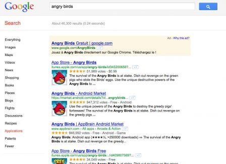 goog11 Nouveauté : les applications directement depuis Google