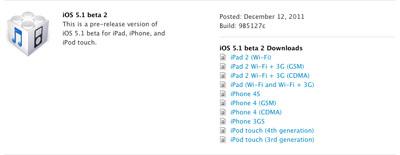 ios51b2 Apple libère une deuxième beta diOS 5.1