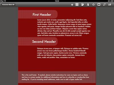 CcrsAwesomeMailsHD 002 Test de Awesome Mails HD pour iPad : De la mise en page pour vos eMails ! (2,39€)