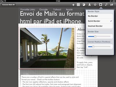 CcrsAwesomeMailsHD 006 Test de Awesome Mails HD pour iPad : De la mise en page pour vos eMails ! (2,39€)