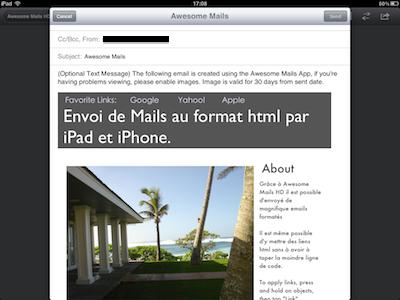 CcrsAwesomeMailsHD 011 Test de Awesome Mails HD pour iPad : De la mise en page pour vos eMails ! (2,39€)