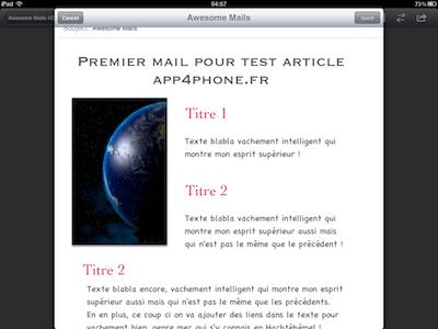 CcrsAwesomeMailsHD 018 Test de Awesome Mails HD pour iPad : De la mise en page pour vos eMails ! (2,39€)