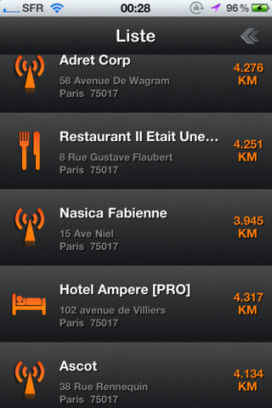 Liste Lapplication WiFine est gratuite en partenariat avec App4Phone