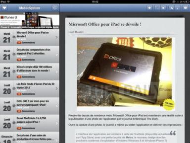 MobileSystem 1 MobileSystem : Toute lactualité sur votre iPad (Gratuit)