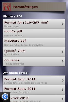TestGiga CV 006 Test de Giga CV : Réaliser son CV sur iPhone (2,39€)
