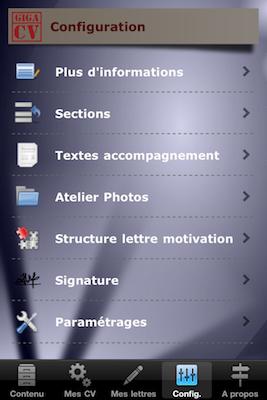 TestGiga CV 017 Test de Giga CV : Réaliser son CV sur iPhone (2,39€)