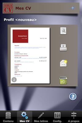 TestGiga CV 018 Test de Giga CV : Réaliser son CV sur iPhone (2,39€)