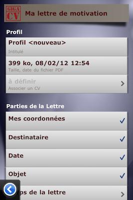TestGiga CV 021 Test de Giga CV : Réaliser son CV sur iPhone (2,39€)