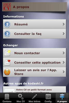 TestGiga CV 022 Test de Giga CV : Réaliser son CV sur iPhone (2,39€)