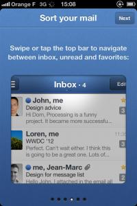 IMG 1687 200x300 Test de Sparrow: le célèbre client mail Mac enfin disponible sur votre iDevice (2,39€)