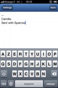 IMG 1696 200x300 Test de Sparrow: le célèbre client mail Mac enfin disponible sur votre iDevice (2,39€)