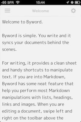 TestByWord 0031 Test de ByWord   Un éditeur de texte totalement intégré à lunivers Apple (2,39€)