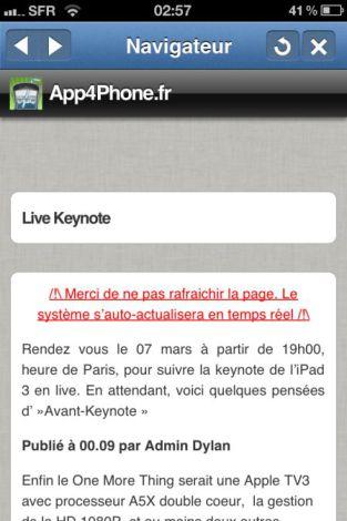 keynote app 3 La keynote de liPad 3 à suivre en live sur App4Phone dès 19h00