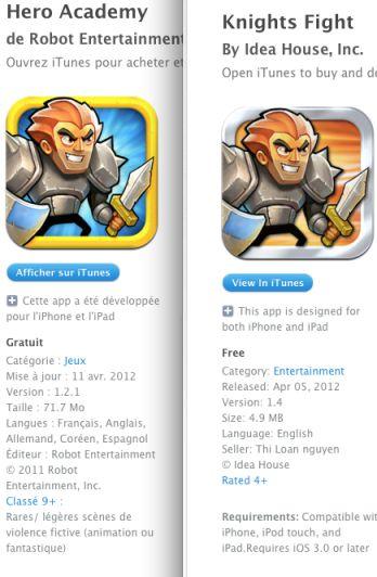 comparatif Knight Fight, alias lusurpateur didentité de lApp Store