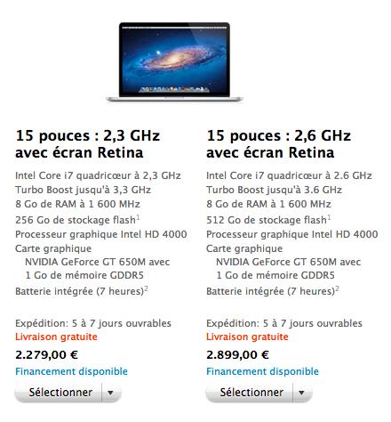 Prix MacBook Pro Retina