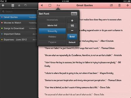 just type ipad Just Type : un gestionnaire de notes dans le nuage (Gratuit)