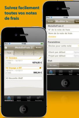 iNDF 1 Lapplication iNotesDeFrais 2 est gratuite en partenariat avec App4Phone
