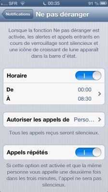 NPD ios6 3 Astuce iOS6 : Le nouveau mode Ne pas déranger