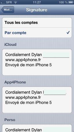 iOS6 Sign 1 Astuce iOS : Utiliser plusieurs signatures dans Mail