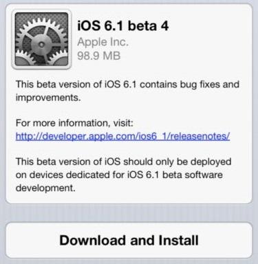 beta 6 1 iOS 6.1 : la quatrième beta est disponible