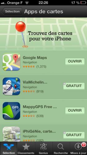 google maps 2 281x500 Google Maps au top de lAppStore avec plus de 10 millions de téléchargements