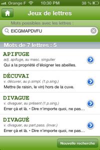 Copie décran 25 200x300 Test du Dictionnaire de Mots Croisés Le Robert : A vos grilles ! (1,79€)