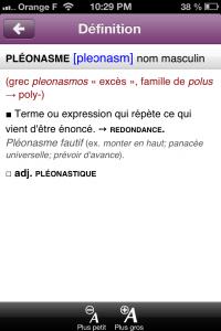 Copie décran 37 200x300 Test du Dictionnaire de Mots Croisés Le Robert : A vos grilles ! (1,79€)