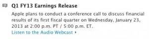 annonce Q1 2013 apple 300x80 Q1 2013 : Apple dévoilera ses résultats financiers le 23 janvier