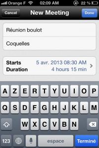 Copie décran 13 200x300 Test de Meetings (4,49€) : App pour organiser vos réunions et ne rien oublier
