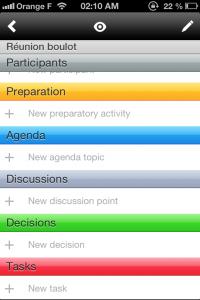 Copie décran 21 200x300 Test de Meetings (4,49€) : App pour organiser vos réunions et ne rien oublier