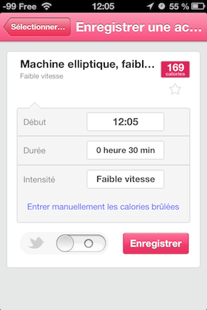 Ajout d'une activité physique sur l'iPhone
