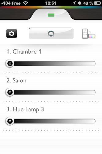 Test Philips Hué 014 Accessoire : Test du Hué de Philips (199,95€), léclairage piloté par iPhone