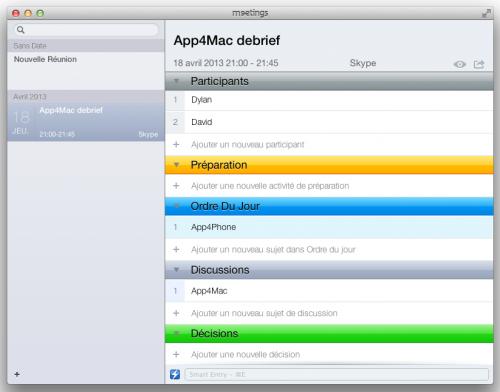 Test Meetings 2 500x392 App4Mac: avec Meetings, gérez toutes vos réunions (17,99€)