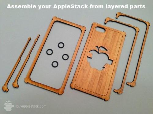 apple stack 2 500x373 Accessoire : LAppleStack (32$), une coque en bois à assembler