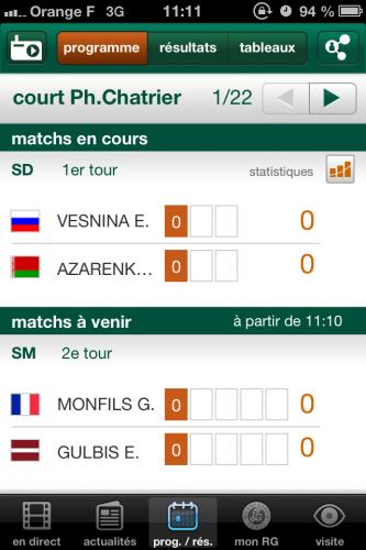 RolandGarros 5 333x500 Roland Garros (gratuit) vous tient informé des matchs de la saison