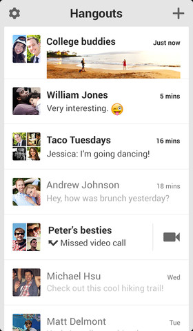 hangouts Google sort son application de messagerie Hangouts (gratuit)