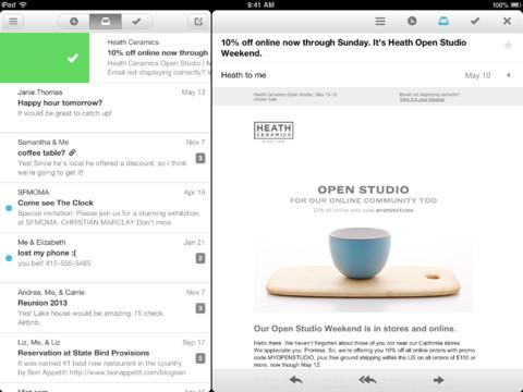 mailbox ipad Mailbox (gratuit) compatible iPad dans sa version 1.3