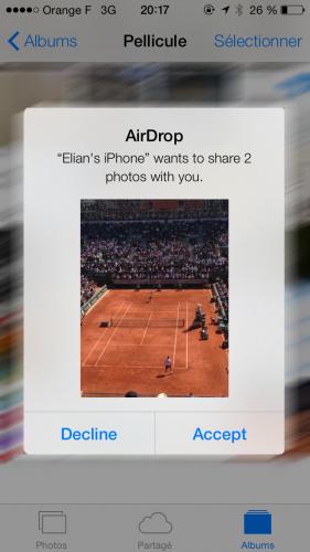 iOS 7 AirDrop1 281x500 Aperçu diOS7 par App4Phone : AirDrop en action !