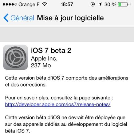 iOS 7 beta 2 dispo 1 iOS 7 : La bêta 2 enfin disponible