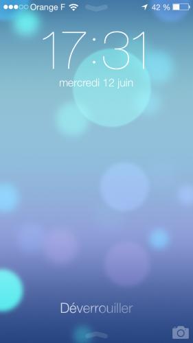 iOS 7 ecran verrouillage 281x500 Aperçu diOS 7 par App4Phone : Lécran verrouillé
