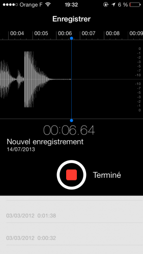 Aperçu iOS 7 dictataphone 2 281x500 Aperçu iOS par App4Phone : le dictaphone