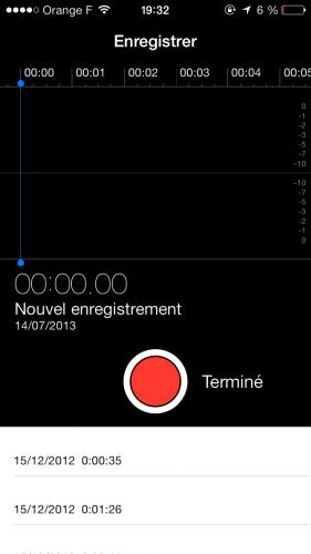 Aperçu iOS 7 dictataphone 281x500 Aperçu iOS par App4Phone : le dictaphone