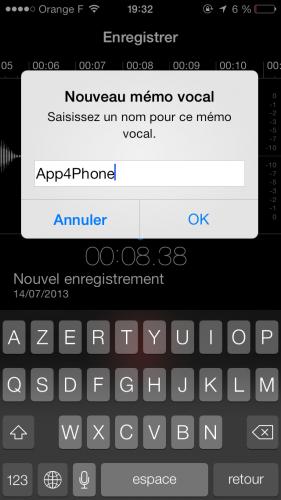 Aperçu iOS 7 dictataphone 3 281x500 Aperçu iOS par App4Phone : le dictaphone