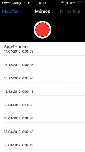 Aperçu iOS 7 dictataphone 4 281x500 Aperçu iOS par App4Phone : le dictaphone